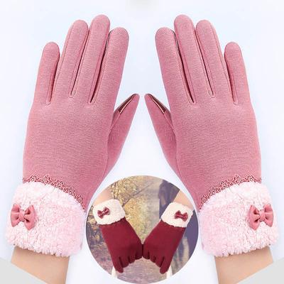 4f9565577af5f3 Frauen Winter Handschuhe Warm Fittness mit Leder Bogen Lace Touch Screen  Mode Fäustlinge