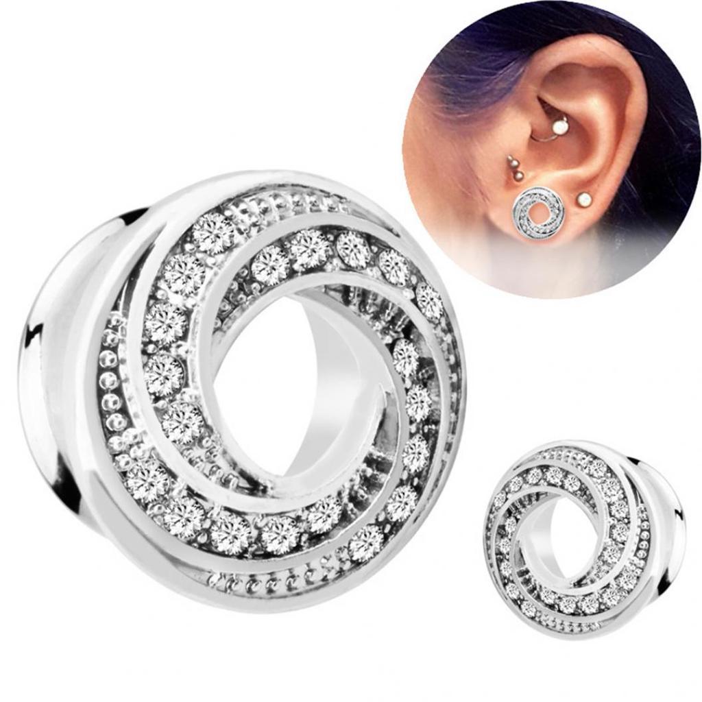 1x Rhinestone Crystal Screw Tunnels Ear Expander Stretch Plugs Piercing Gauge;CC