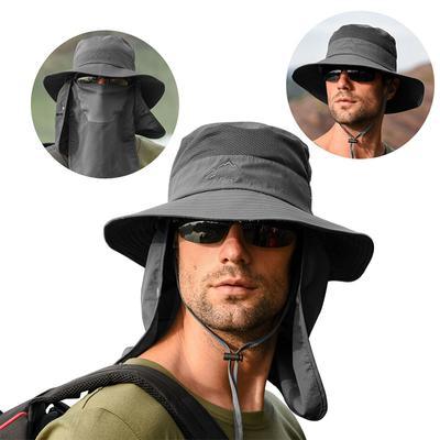 Women Men  Wide Brim Hats Bucket Sport Outdoor Face Flap Cap