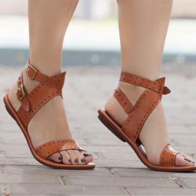 982f9c4721 Zapato 3 mujeres simples zapatos ocasionales zapatos Color correa pisos  moda griega hebilla sandalias de moda