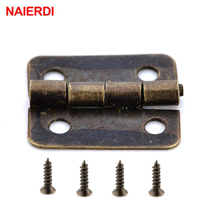 Large Door Brass Hinges with Screws DollHouse Antique Wooden Box Craft Hinge