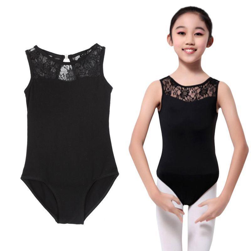 1fdc1e0a6 Lycra Lace Bodysuit Kids Girls Dance Leotard Open Back Ballet ...