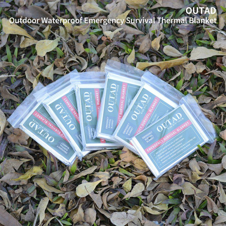 OCDAY OUTAD 10 Pcs Outdoor Waterproof Emergency Survival Thermal Blanket  First Aid SM