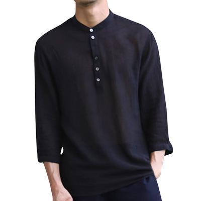 fc340e655b Koszule letnie Fashion Jednokolorowe pół rękawy dekolt w serek Koszula męska  w stylu casual Odzież męska