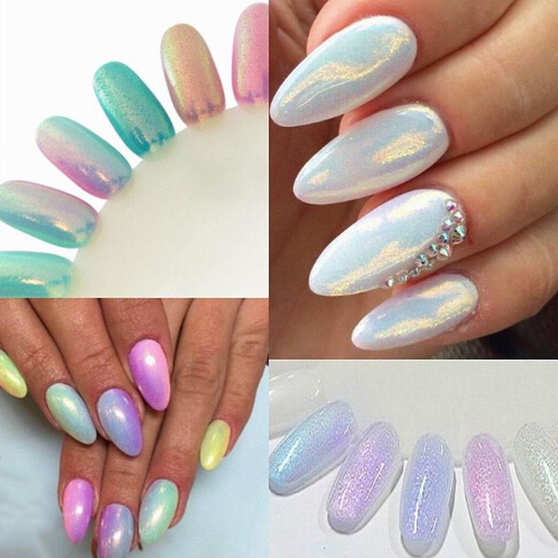 Moda sirena efecto brillo de uñas de arte decoración magia Glimmer ...