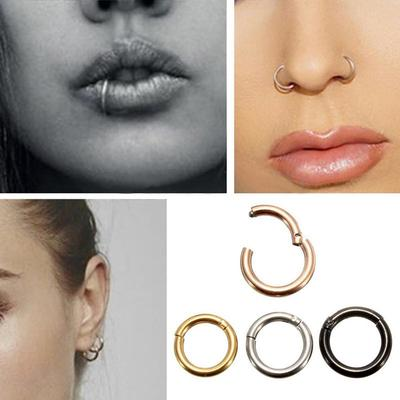 Titanium Nose Ring Earrings Lip Hinged Segment Rings Clip