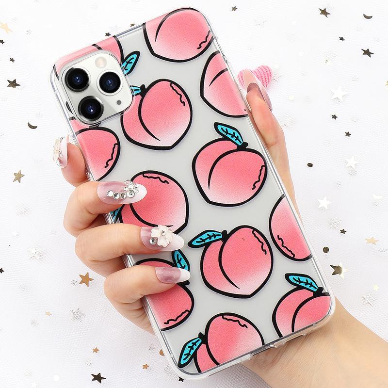 Прекрасный персиковый шаблон Гель Силкон Шокопер мягкий TPU Clear Cover Skin для Iphone 11 Pro Max Xs Xr фото
