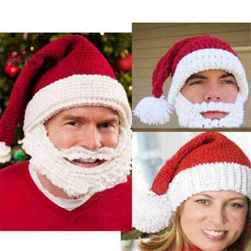 Unisex Mens Winter Knit Crochet Beard Beanie Mustache Mask Face Warm Ski Hat