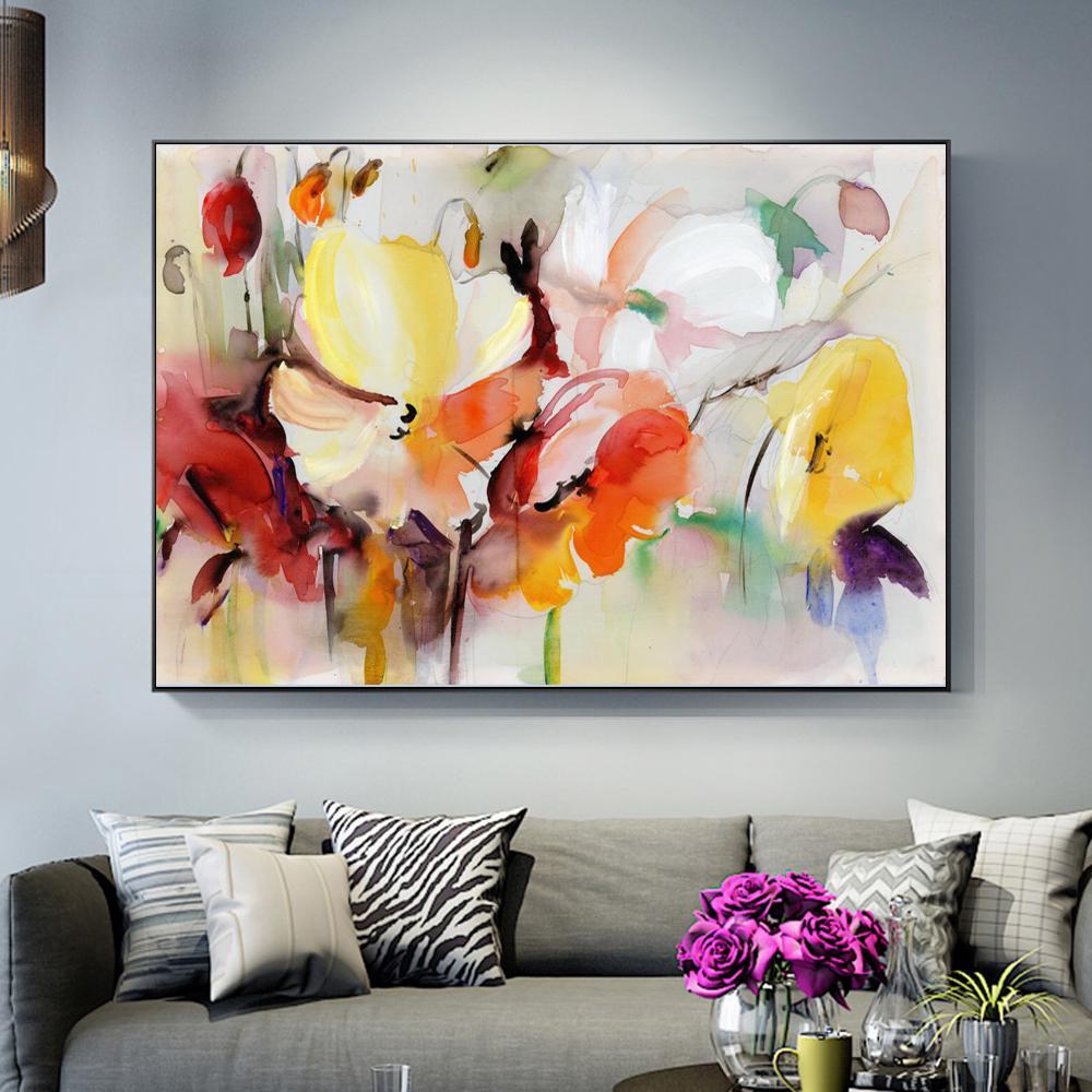 Абстрактная акварель цветок холст картина современная стена искусство цветок картина для гостиной настенный плакат декор Куадрос – купить по низким ценам в интернет-магазине Joom
