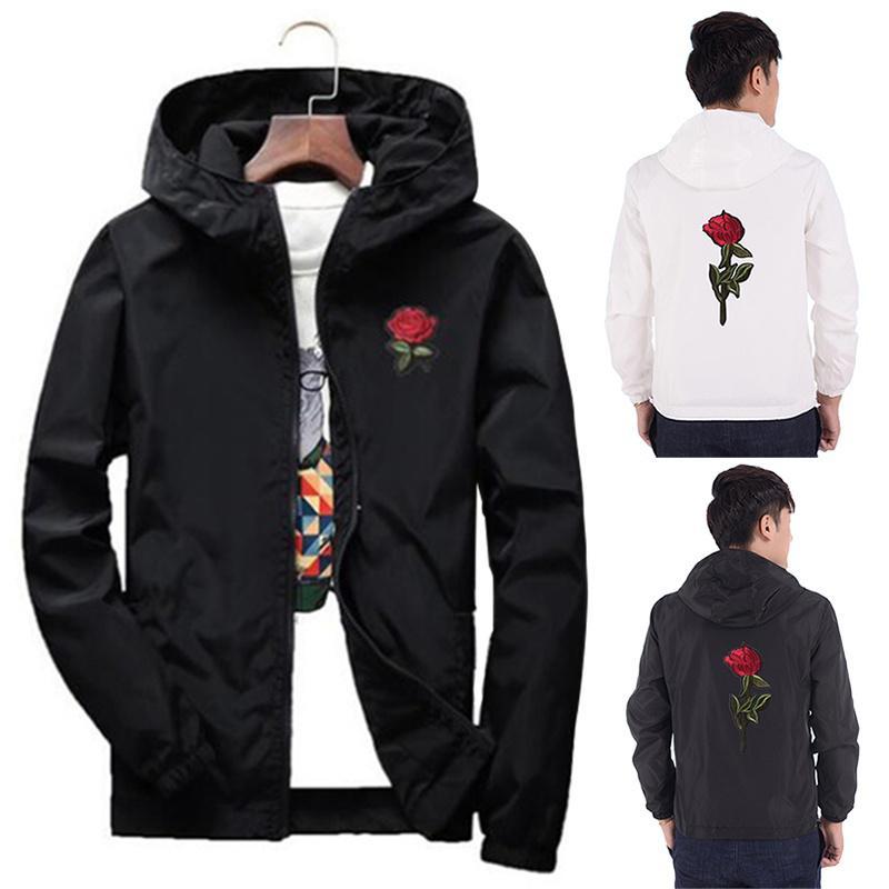 db8a094e3d3c Coats winter jacket hooded windbreaker men women college jackets long  sleeve rose embroidered jacket