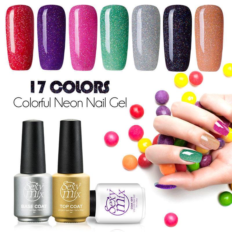 56edf8737 7ml larga duración 3D Neon Color Gel de uñas remojo UV lámpara DIY ...