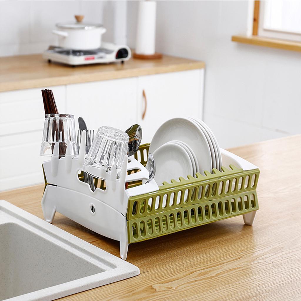 Plate Holders Counter Dish Storage Rack Folding Tableware Draining Organizer