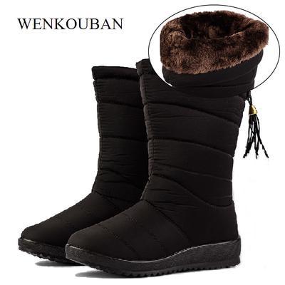 e47427171b Botas de invierno impermeables hembra Mid-CALF botas de plumas mujeres  zapatos causales de nieve