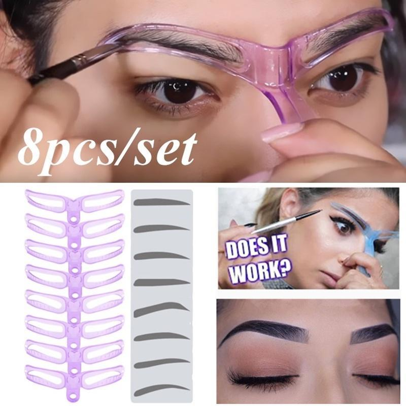 8 Pieces Set Eyebrow Shaper Makeup Template Eyebrow Grooming Shaping Stencil Kit Eyebrow Template Buy At A Low Prices On Joom E Commerce Platform