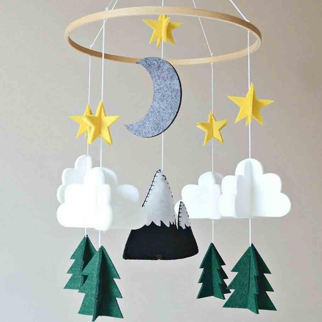 Decor Soft Baby Cloud Wall Ornaments Crib Hanging Toys Moon Doll Wind Chimes