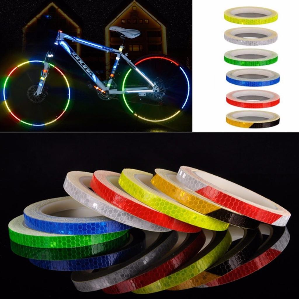 10pcs Bike Reflective Stickers Wheel Reflective Tape Safety Wheel Stickers~