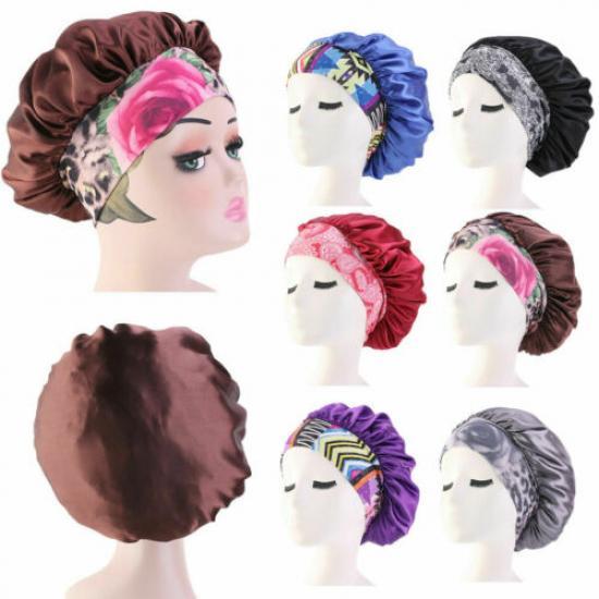 SILK SATIN Night Sleep Cap Cheveux Bonnet Chapeau Femme Dreadlocks Long Hair Care Chapeaux