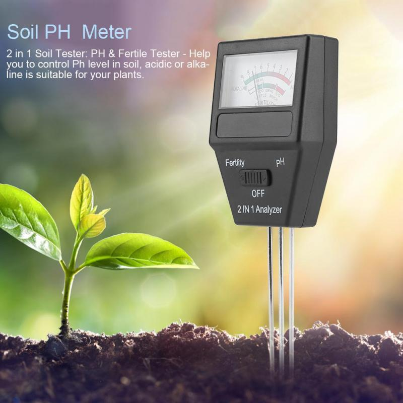 2 In 1 Fertility Analyzer Portable Digital PH Meter Soil Tester Lawn Alkalinity