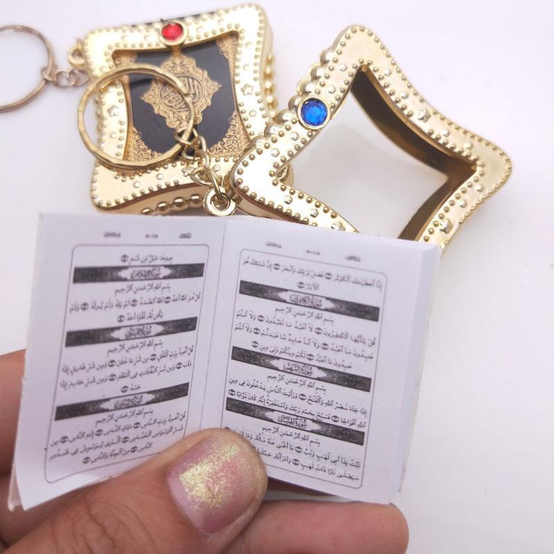 Mini Ark Quran Book Key Chain Islamic Key Ring Car Key Bag Decor Unisex Gift Ca