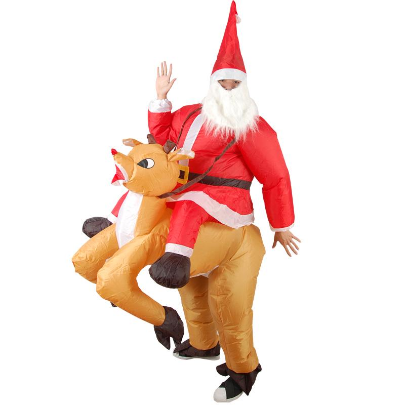 Inflatable Santa Claus Costume Outfit Adult Mens Father Christmas Fancy Dress