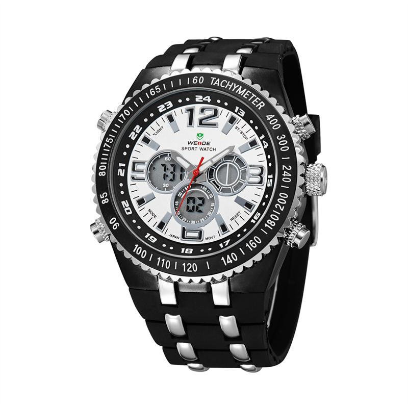 WEIDE WH-1107 мужчин привел цифровые и аналоговые кварцевые часы с  StopwatchRubber Band (белый) – купить по низким ценам в интернет-магазине  Joom e7f4f8bc0a203