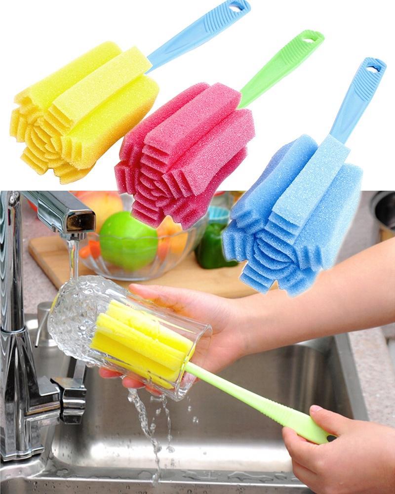 Набор из 3 щеток с губчатой щетиной и пластиковыми ручками для мытья стеклянных стаканов и детских бутылочек фото