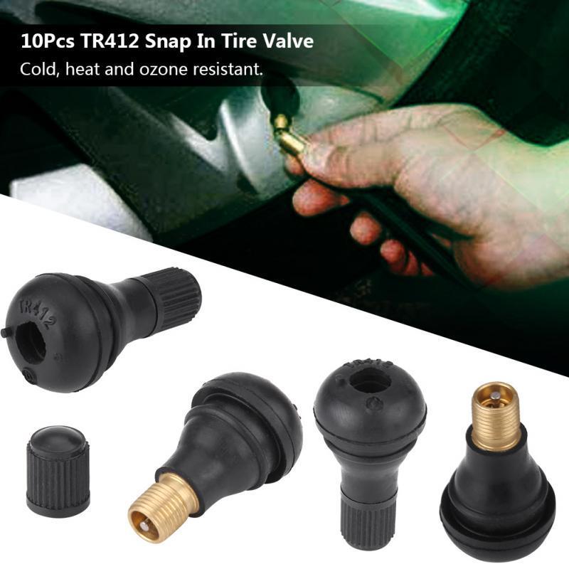 100 X TR413 Cubierta de cromo y válvulas de neumáticos de goma Tapas snap en conjunto completo de//Válvula,