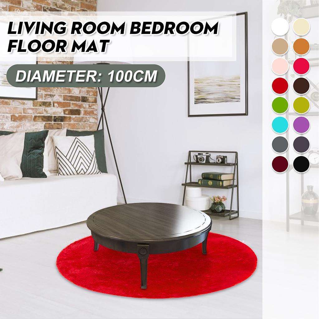 Wood Board Anchor Non-slip Yoga Bath Mat Room Floor Round Carpet Decor Area Rugs