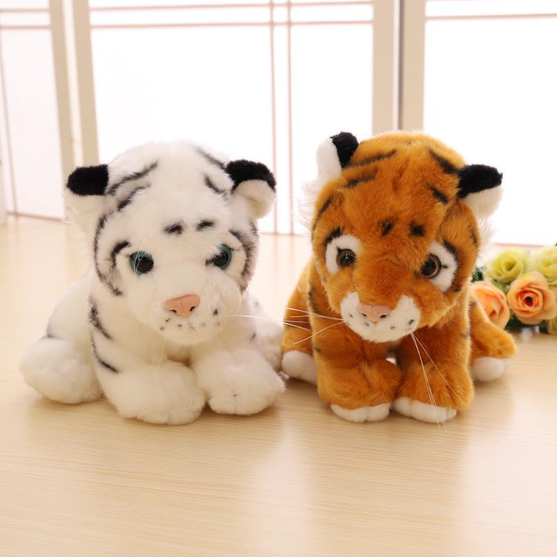 small plush yellow tiger toy cute real life tiger doll birthday gift about 30cm