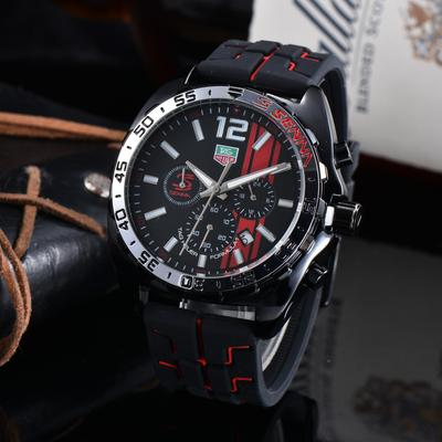 Luxury Mens Watch Quartz Movement Silicone Strap All Functional Small Dial Work Stopwatch