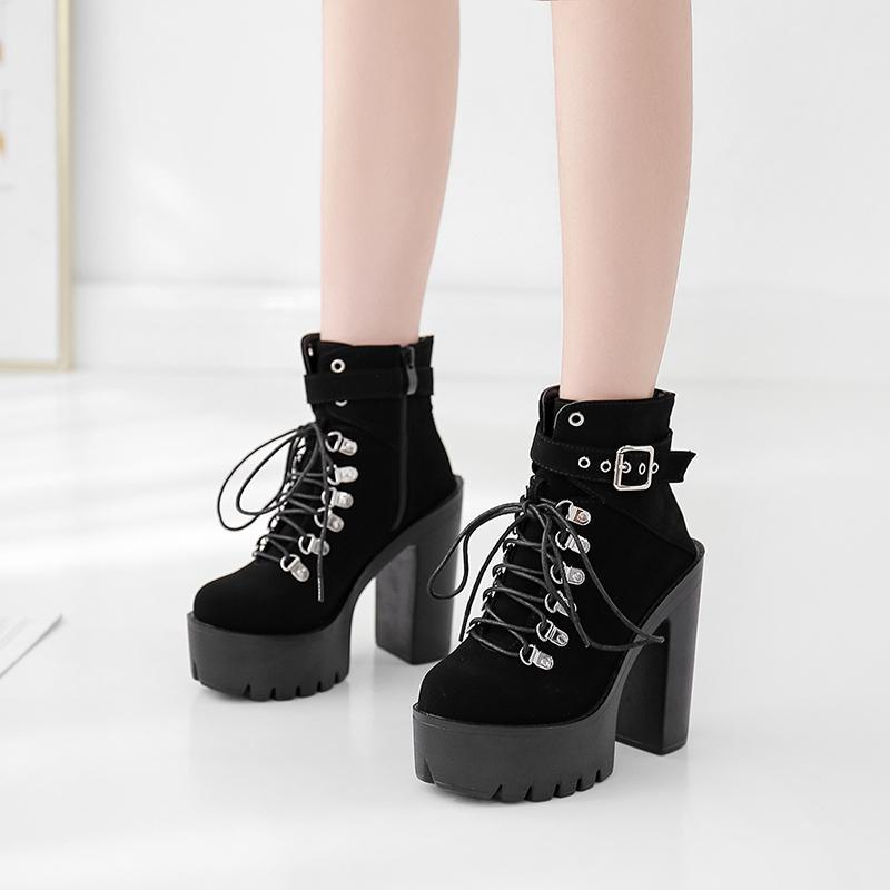 New Winter Women Buckle Ankle Boots Chunky High Heels Lace Up Martin Boot Zipper