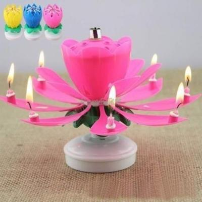 New Fashion Romantic Musical Lotus Rotating Happy Birthday Candle Flower Candles