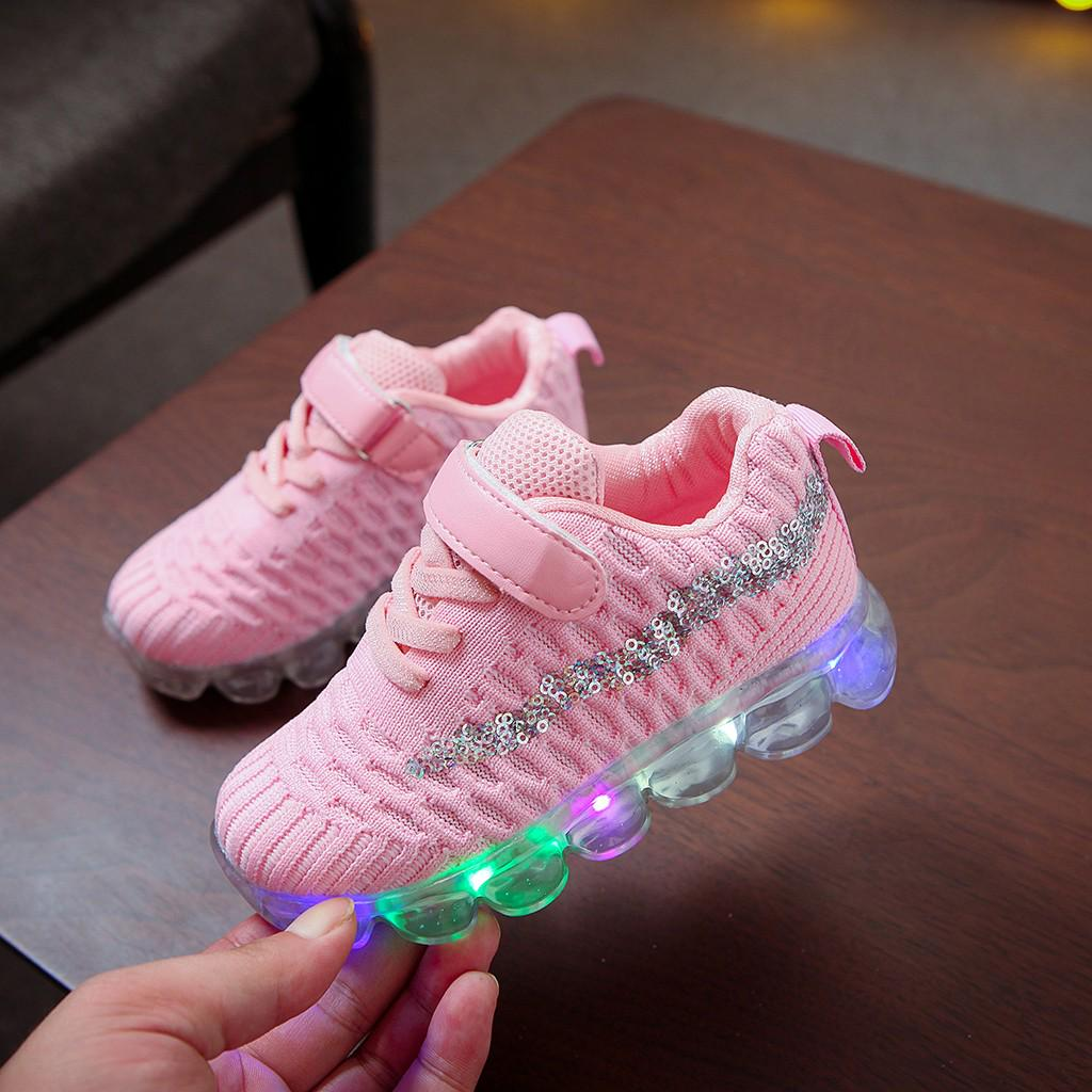Weilov 1-6years Children Baby Girls Bling Led Luminous Sport Sneakers Short Boots Booties Shoes Breathable Cozy Sport Shoes Running Casual Shoes Birthday Halloween Christmas New Year Gift