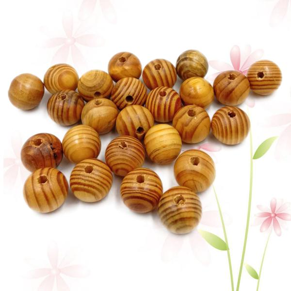 25pcs 25mm Round Spacer Beads Loose Wood Stripe Beads for Beading Crafts