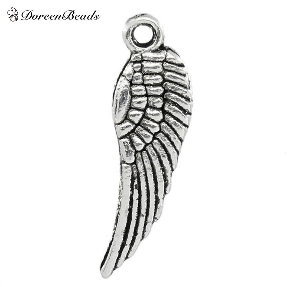 50Pcs Lots Vintage Feather Wings Pendant Beads Jewelry Making Necklace DIY Decor