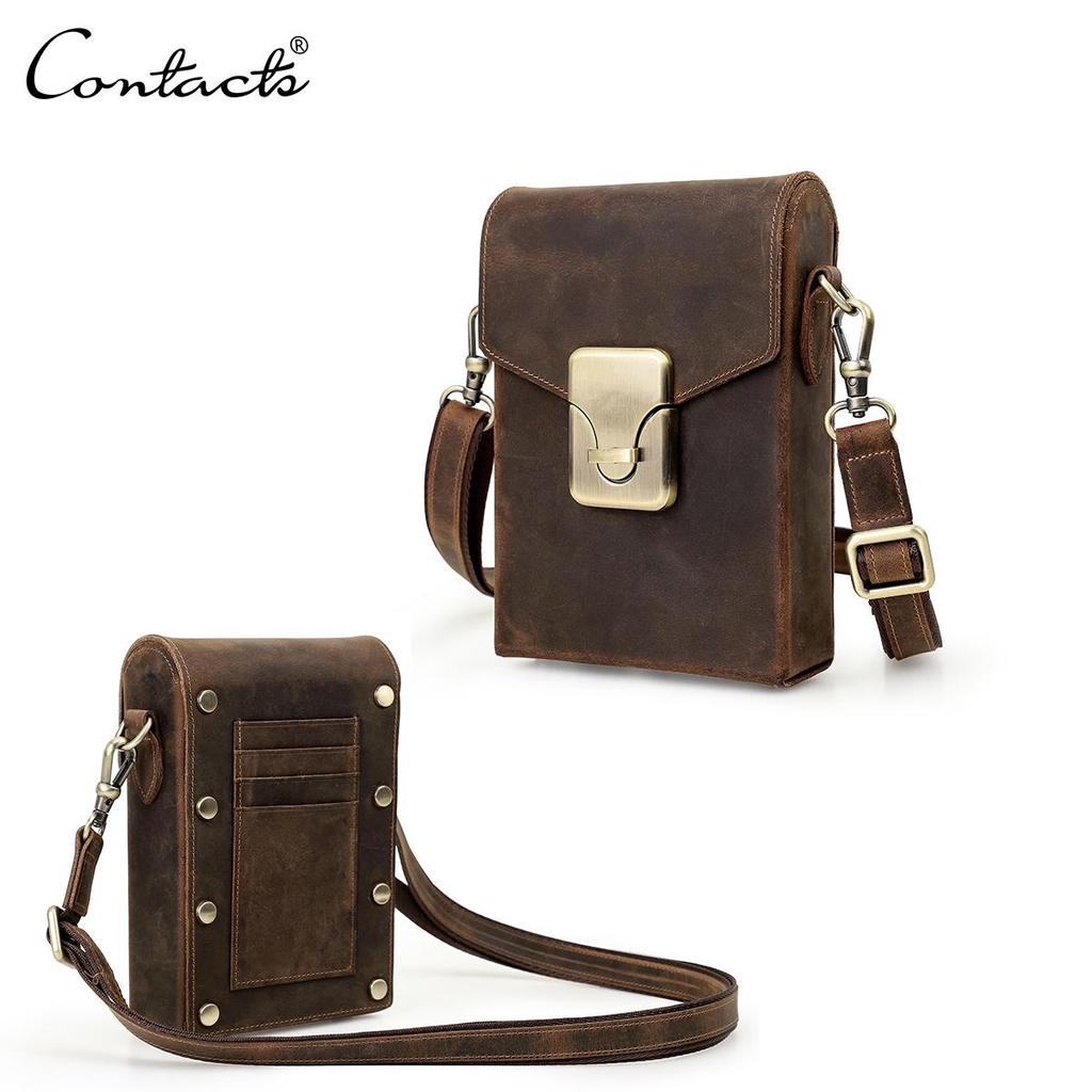 Contacts Mens Genuine Leather Crossbody Shoulder Messenger Bag for 10.5 iPad Brown
