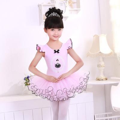 9c19d712ed6b Kids Girls  Short Sleeve Ruffle Tutu Skirted Dance Ballet Dress ...