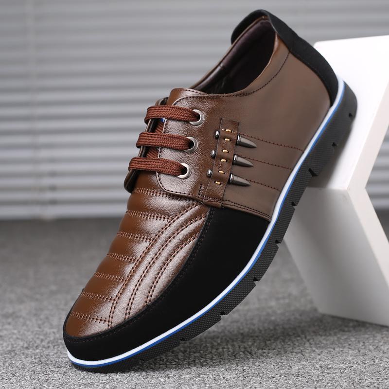 Men Genuine Leather Splicing Non-Slip