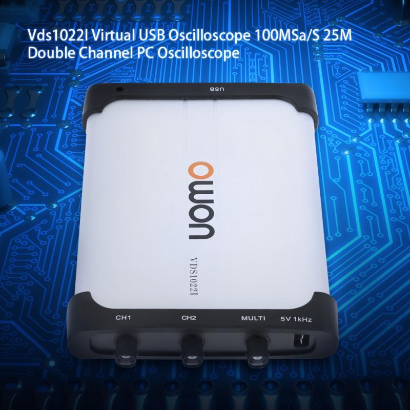 Owon VDS1022I Oscilloscope,25Mhz Bandwidth Dual-Channel PC Based USB Digital Storage Virtual Oscilloscope Spectrum Analyzer Data Recorder with Portable Design