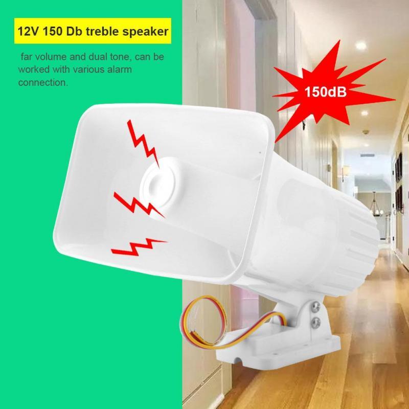 Bocina de advertencia,150dB DC 12V Dual Tone Wired Loud Alarm Cuerno Advertencia seguridad//Burglar Horn para sistema de monitoreo seguridad para hogar Seguridad