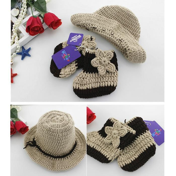 Pentagram vaquero estilo Crochet recién trajes bebé sombrero ...