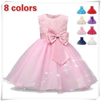 e00bb557da0 Summer Kids Girls Sleeveless Sequin Bowknot Tutu Princess Dress Infant Baby  Baptism Christening Gown