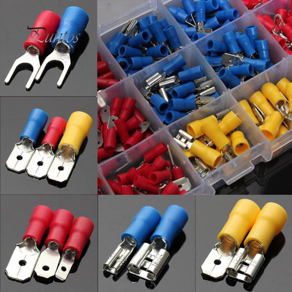uxcell Insulated Fork Spade Wire Connector Electrical Crimp 6.3mm Terminal Blue 20Pcs