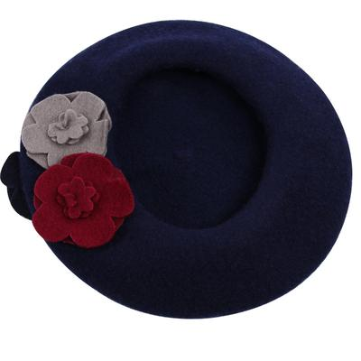 100% Wool Beret Hat New Winter Hot Pepper Flowers England Style Women Beret Bonnet Casual