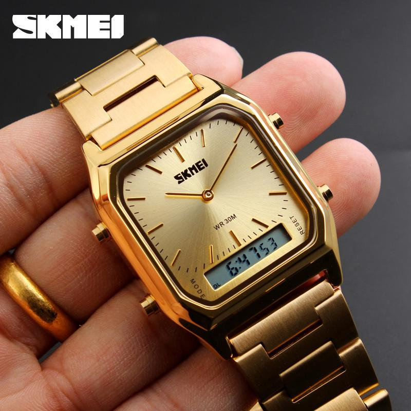 Skmei Digital Watches For Men Dual Time Sport Gold Watches Stainless Steel Quartz Wristwatch Men Buy At A Low Prices On Joom E Commerce Platform