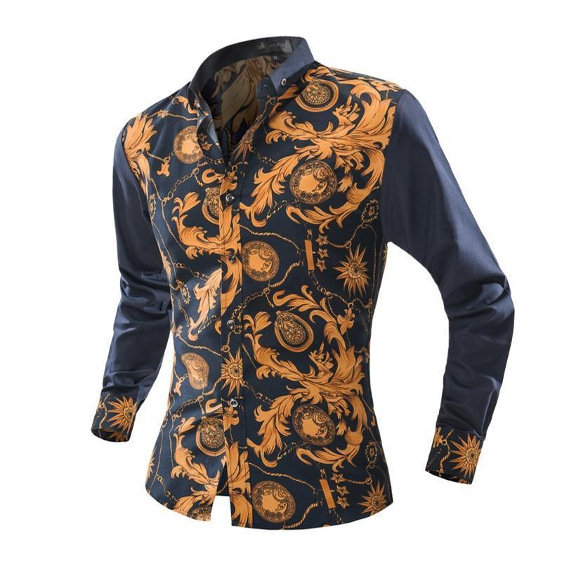 男士拼接衬衫 男士百搭花色T恤 韩版长袖翻领衬衣