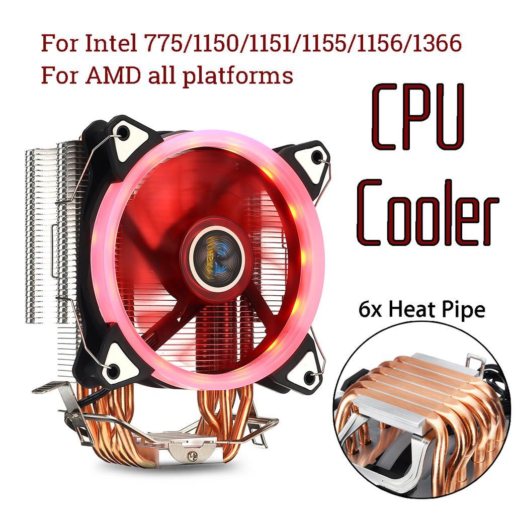 6 Heatpipe Computer CPU Fans Cooler Heat Sink For Intel Lag1156//1155//1150//775