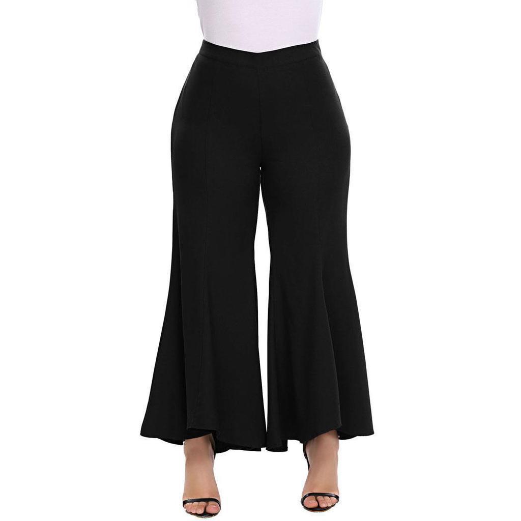 Women Casual High Slit Flowy Layered Irregular Pants Loose Wide Leg Pants Sight