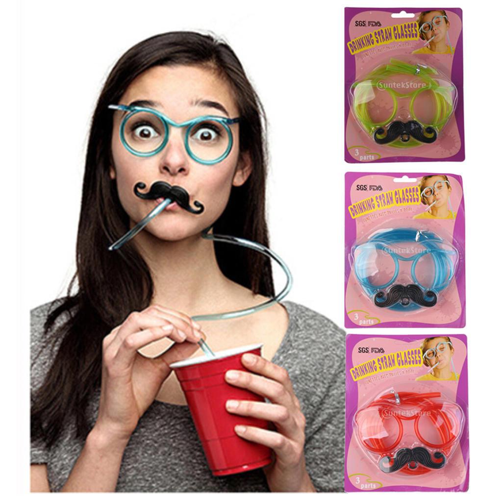 b1d1dcfe1a Divertidos marcos de vidrio bigote loco bebiendo paja tubo gafas ojo ...