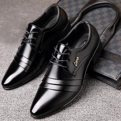 Mens Formal Dress Shoes Classic Lace Up Flat Oxfords Black